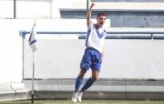 Soto celebrant al Nou Sardenya el seu primer gol a Tercera Divisió